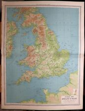 1939 SURVEY MAP ENGLAND & WALES LAND HEIGHTS PHYSICAL PENNINE CHAIN DARTMOOR