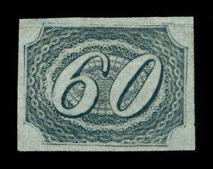 BRAZIL 1844 INCLINADOS 60reis black - thin paper Scott # 9 mint MH VF-XF