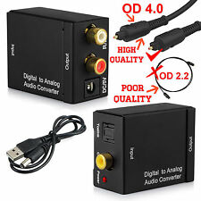 Optical Coax Coaxial Toslink Digital to Analog Audio Converter RCA L/R Adapter