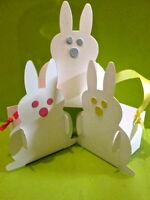 10 White Bunny Rabbit favour boxes. For  Easter eggs, gifts, Alice in Wonderland