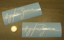 2x stickers Auto Signature Ayrton Senna 14cm Blanc Brillant Car Race B12-010