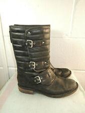 UGG Australia 1001833 Black Distressed Leather Mid-Calf Boot Women Size 9M