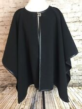 Calvin Klein Cape Poncho Black Faux Leather Trim Silver Hardware Closure
