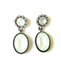 Art Deco Nouveau Dark Silver White Faux Opal Stud Earrings Victorian Style 1332