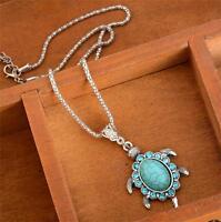 Vintage Turquoise Rhinestone Turtle Pendant Chain Necklace Boho Women Jewelry