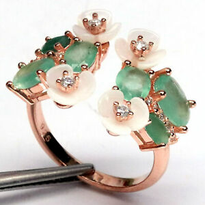NUTURAL 5 X 7 mm. GREEN EMERALD, WHITE MOTER OF PEARL & WHITE CZ RING 925 SILVER