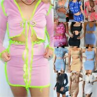 2020 Women Crop Top+Mini Skirt Co Ord 2Pcs Set Ladies Holiday Party Mini Dress