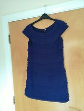 Ladies FRENCH CONNECTION Dress Size 8 10 Blue Mini Tiered Party Evening