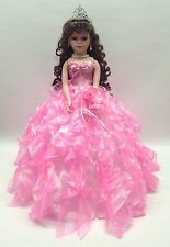 NEW Pink 20in 15 XV Anos Quinceanera Ruffle Dress Porcelain Umbrella Muñeca Doll