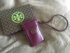 TORY BURCH 100% Leather Purple/Burgundy 3 Credit Card Holders W Strap Box