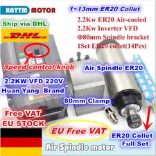【DE】2.2KW Air Cooled ER20 220V Spindle Motor+HY VFD Inverter+80mm Clamp+Collet