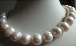 Big 10-11mm Natural WHITE FRESHWATER CULTURED PEARL NECKLACE 18 INCHES