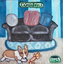 Pembroke Welsh Corgi in Living Room Art Print 8x8 Dog Collectible Signed Ksams