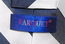 Parquet 100% Silk Blue & White Striped Tie 58 inch Pre-Owned Necktie EUC (T1021)