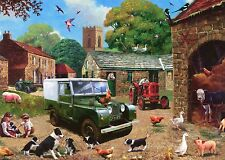Land Rover Landrover 1950 Farm Scene blank greeting card with tractors Sheep dog