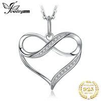 Halskette + Herz Anhänger 925 Silber unendlich Zeichen Zirkonia Liebe