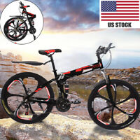 26in Folding Mountain Bike 21 Speed Bicycle Full Suspension MTB Bikes c