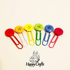 Round Wooden Rainbow Button Paper Clips Set of 6