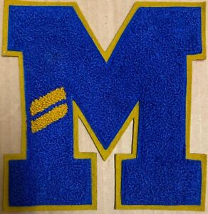 1940's Varsity Letter big M Letterman Jacket Patch Embroidered Blue chenille