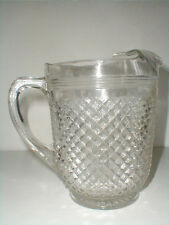 Miss America Clear Crystal Depression Glass 65 oz Ice Lip Water Pitcher