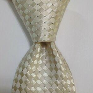 DONALD TRUMP President Signature Collection Silk/Metallic Necktie Ivory/Gold EUC