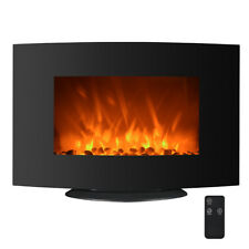 """750W/1500W Electric Wall Mounted Fireplace Heater 2-in-1 35"""" Adjustable Curve 35"""
