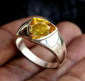 925 Sterling Silver Overlay Citrine Gemstone Wedding Boys Mens Ring Size 6 to 14