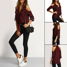 Fashion Women Summer Long Sleeve Plaid T-Shirt Blouse Cold Shoulder Casual Tops