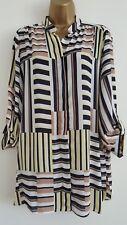 NEW ExEv-ns Plus Size16-28 Colour Block Navy Striped Chiffon Blouse Shirt Top