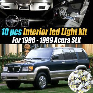 10Pc Super White Car Interior LED Light Bulb Kit Pack for 1996-1999 Acura SLX