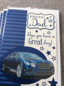 Birthday Wishes Dad.Quality Car Design Birthday Card. Nice Words.