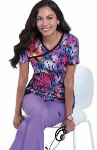 Koi Colorful Petals Raquel Print Scrub Top