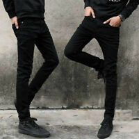 Men Fashion Slim Fit Skinny Trousers Stretch Denim Pants Straight Classic Jeans