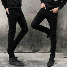 Black Men's Designed Straight Slim Fit Biker Jeans Pants Skinny Denim Trousers