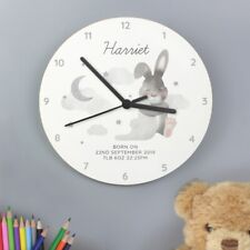 Children's Personalised Baby Bunny White Wooden Bedroom Clock - Add Any Name