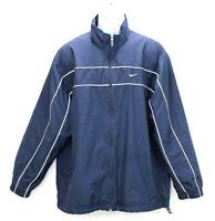 Nike Full-Zip Windbreaker Jacket Mesh Lined  Swoosh Men's Large Navy Blue EUC