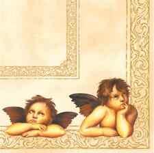 Christmas 20 Paper Lunch Napkins ANGELS Cream Gold Luxury Wings Cherubin / D