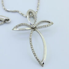Ladies 14k Gold Elegant Custom Made Diamond Cross Pendant With Solid 14k Chain
