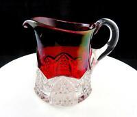 "GEORGE DUNCAN SONS BUTTON ARCHES RUBY FLASH SOUVENIR LARGE 4 1/8"" CREAM PITCHER"