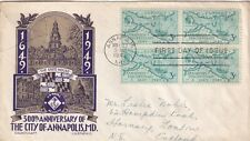 United States 1949 300th anniversary of the City of Annapolis FDC
