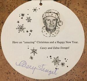 Casey Stengel Signed Mets Christmas Card Beautiful Signature Stengel Estate LOA