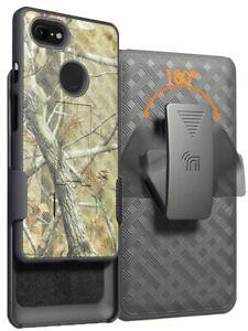 Camo Tree Real Woods Case Kickstand Cover Belt Clip for Google Pixel 3 XL, 3XL