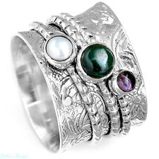 925 Sterling Silver Spinner Ring Malachite Pearl Gemstone Band Two Tone Size 6.5