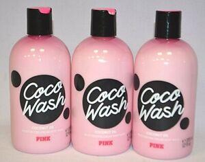 3 VICTORIA'S SECRET PINK COCO WASH COCONUT OIL MOISTURIZING CREAM BODY WASH 12OZ