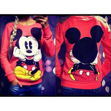 Women Mickey Mouse Pullover Jumper Hoodie Long Sleeve Coat Sweatshirt Top Blouse
