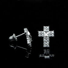 0.20Ct Created Diamond Pave Cross Earrings 14k White Gold Studs Screw-Back