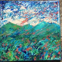 GREEN MTNS Original Acrylic Abstract Landscape Knife Painting TEXTURE 14x14in NR