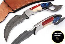 "10"" NEW DAMASCUS STEEL FULL TANG KARAMBIT KNIFE HUNTING KNIFE BONE HANDLE108"