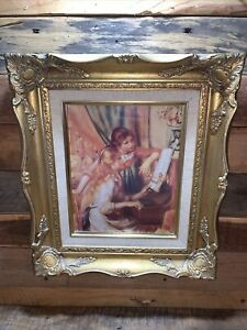 """Framed Renoir Lithograph """"Young Girls at the Piano"""" COA The Guild NY 15.5""""x13.5"""""""