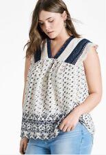 NWT LUCKY BRAND Women's Sz 3X Lace Flutter Sleeve Scallop Hem Blouse C1239